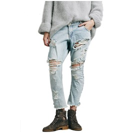 Large Ripped Boyfriend Women Jeans