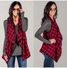 Grunge Plaid Checks Sleeveless Women Vest