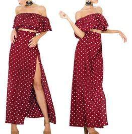 Women's Polka Dot Off Shoulder Ruffle Top Maxi Dress
