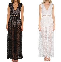 High Fashion Women's Hollow Out Lace Maxi Dress