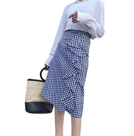 Streetwear Women's Plaid Ruffled Mid Calf Skirt