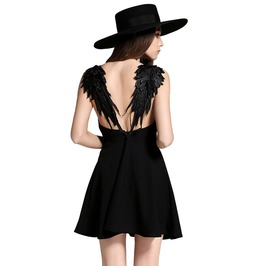 Gothic Angel's Wings Backless Mini Dress
