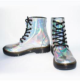 Hologram Pastel Goth Combat Boots