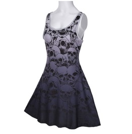 Gothic Skulls Purple Pleated Dress *Free Standard Shipping*
