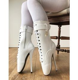 Rtbu Ballet Stiletto Heel Pointe Charm Burlesque White Patent