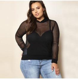 Sexy Transparent Plus Size Women T Shirt