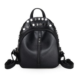 Punk Rivet Black Vegan Leather Bag Backpack