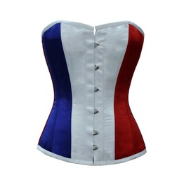 Red White Blue Satin France Flag Waist Training Bustier Overbust Corset Top
