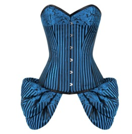 Blue & Black Brocade Side Flounce Gothic Burlesque Bustier Overbust Corset