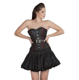 Red Black Brocade & Leather Bustier Overbust Silk Tutu Skirt Corset Dress