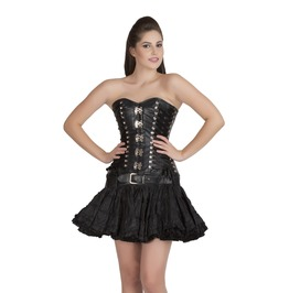 Black Faux Leather Steampunk Overbust Top & Cotton Tutu Skirt Corset Dress