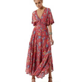 Boho Retro Floral Fit Flare V Neck Empire Waistline Maxi Dress