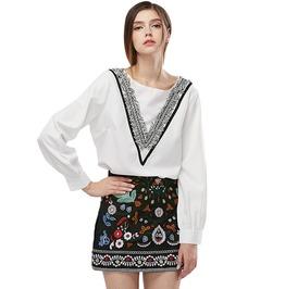 Boho Vintage High Waist Floral Embroidered Pencil Short Skirt