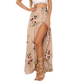 Boho Vintage Floral Print Side Slit Wrap Asymmetric Maxi Skirt