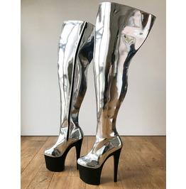 Rtbu Blade 20cm Platform Heel Crotch Hi Side Zip Boot Metallic Silver