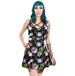Tropical Dreams Pineapple Skull Summer Print Gwen Skater Dress
