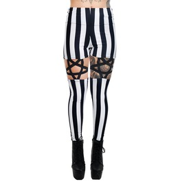 Black & White Stripe High Waist Pentagram Garter Leggings