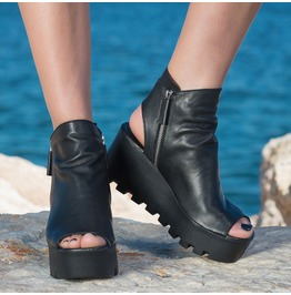 Black Genuine Leather Summer Boots/Black Leather Wedges