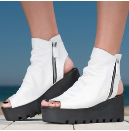 White Genuine Leather Wedges/White Genuine Leather Summer Boots