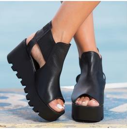 Black Genuine Leather Wedges/Black Platform Sandals/Leather Espadrille