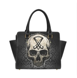 Sigil Of Lucifer Skull Handbag With Shoulder Strap