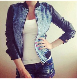 Punk Denim Vegan Leather Sleeves Women Jacket