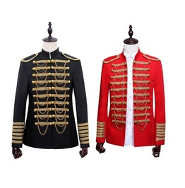 Hussar Jacket Artillery Tunic Military Uniform Drummer Steampunk Black Red