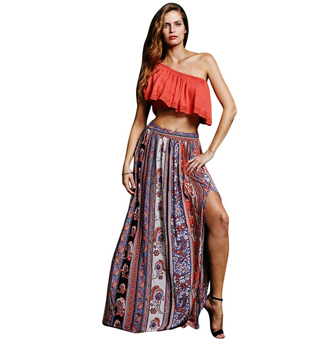 offer discounts new product attractive designs Gypsy Boho Vintage Bandana Print Long Maxi Skirt