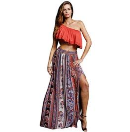 Gypsy Boho Vintage Bandana Print Long Maxi Skirt