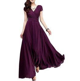 Boho Party V Neck Floor Length Chiffon Pleated Maxi Dress