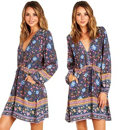 Deep V Neck Lantern Sleeve Floral Print Tassel Hippie Boho Summer Dress
