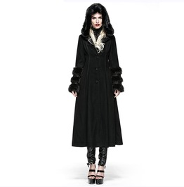 Black Gothic Coat For Women Two Wear Imitation Fur Coat