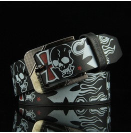 Punk Skull Buckle Vegan Leather Men Belt