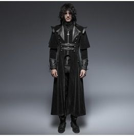 Punk rave military black leather long gothic trench coats with belts coats