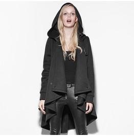 Black Personality Irregular Cloak Style Long Punk Jacket