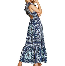 Backless Sleeveless Floral Print Tassel Sexy Long Boho Maxi Dress