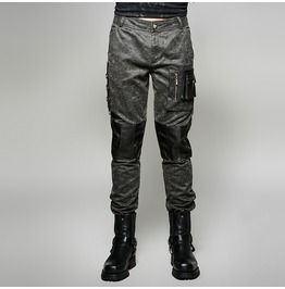 Vintage Military Washed Out Cargo Pants With 3 D Leather Pockets