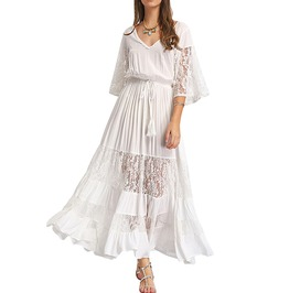V Neck Loose Lace Flare Sleeve Long Boho Maxi Dress