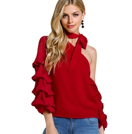 Red Asymmetric One Shoulder Bishop Sleeve Sweet Layered Sexy Top
