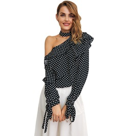 One Shoulder Polka Dots Ruffle Lantern Sleeve Vintage Chiffon Summer Top