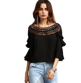 Crochet Neck Hollow Out Flare Sleeve Ruffle Black Sexy Top