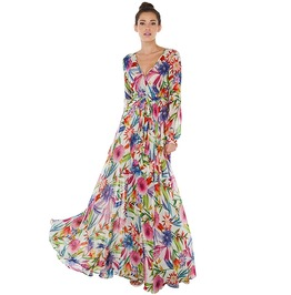 V Neck Floral Print Long Sleeve High Waist Long Maxi Dress