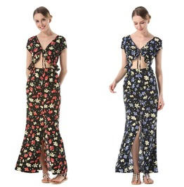 Women Floral Hollow Out Lace Up Front Split Beach Casual Party Maxi Dress