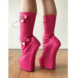 Myla Heavy Hoof Sole Heelless Mid Calf Boots Custom Made Hot Pink Matte