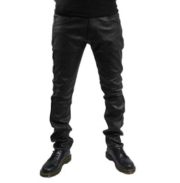Clash Damage Vegan Leather Black Biker Pants Clash003