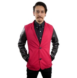 Fango Red And Black Vinyl Raglan 80's Style Blazer Fgo017