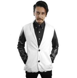 Fango White And Black Vinyl Raglan 80's Style Blazer Fgo018
