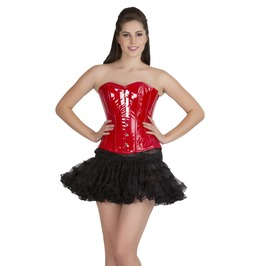 Red Pvc Leather Steampunk Overbust Corset Top Black Tutu Skirt Corset Dress
