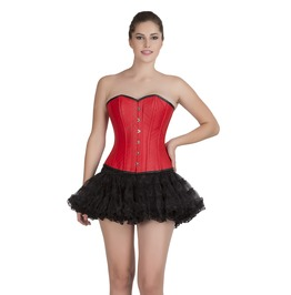 Red Leather Steampunk Overbust Corset Top & Black Tutu Skirt Corset Dress