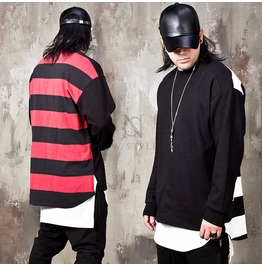 Unbalanced Back Striped Shirts 241